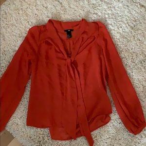 Gorgeous burnt orange h&m neck tie blouse xs 4